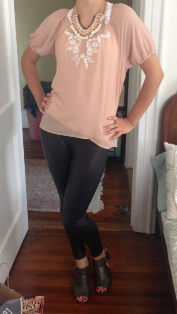 Leather Pants; $8, Forever 21, Blouse; $17, Forever 21, Necklace; $9.50, Forever 21
